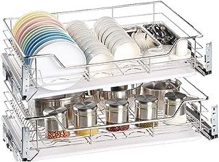Organisateur de tiroir coulissant - tiroir en acier inoxydable à double couche avec support for assiette de trempage assie...