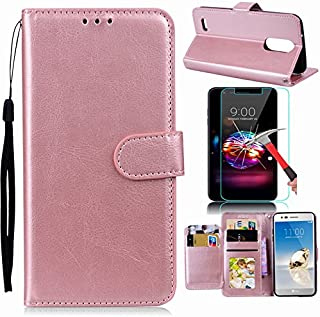 LG Aristo 3/Tribute Empire/Aristo 2/Tribute Dynasty/Zone 4/Fortune 2/K8 2018/Risio 3 Case with Screen Protector, I VIKKLY Premium PU Leather with Kickstand and 5 Card Slot Flip Wallet Case (Rose Gold)