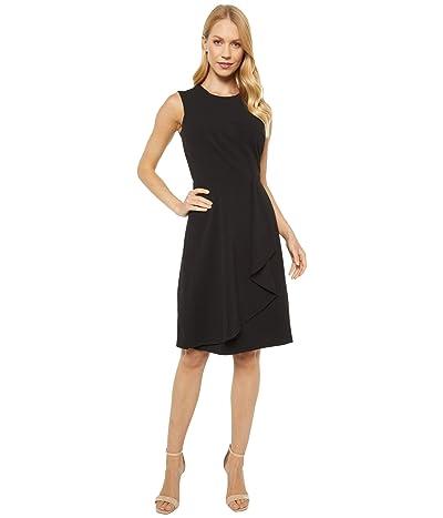 Calvin Klein Sleeveless Dress with Pleat and Ruffle Detail (Black) Women