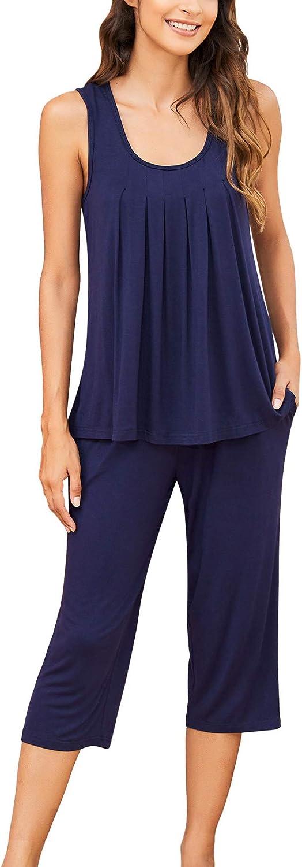 Ekouaer Women's Pajama Set Sleeveless Sleepwear Pleated Tank Top with Capri Pants Soft Pj Set