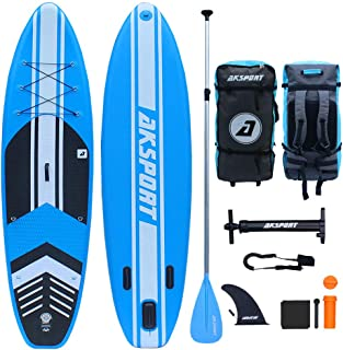 """AKSPORT 10'6""""×32""""×6"""" Inflatable Stand Up Paddle Board with Premium Non-Slip Deck,Travel Backpack,Adjustable Paddle,Pump,Leash for Youth & Adult Ultra-Light Surfing ISUP"""