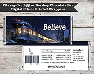 Polar Express Christmas or Birthday Party Personalized Candy Bar Wrapper, Set of 10