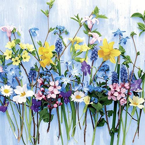 AvanCarte Frühling Cocktail Servietten Geburtstag Ostern Blumen 20 St 3-lagig 25x25cm