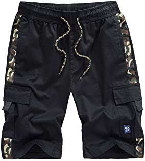 Kolongvangie Cargo Shorts Elastic Waist Drawstring Cotton Casual Outdoor Lightweight Shorts with Multi Pockets