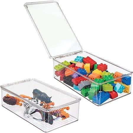 mDesign Bac à jouet – Rangement jouet avec couvercle pour des jouets rangés sur une étagère ou sous le lit - Rangement chambre enfant transparent - lot de 2