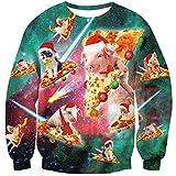 Goodstoworld 3D Pullover Männer Damen Ugly Christmas Sweater Pizza cat Pig Hässlich Weihnachten Sweatshirt Weihnachtspullover L