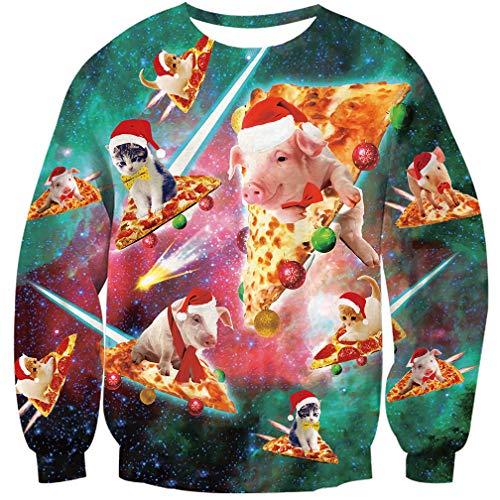 Goodstoworld Hässliche Weihnachtspullover 3D Pizza cat Pig Unisex Männer Pullover Weihnachten Sweatshirt Ugly Christmas Sweater M
