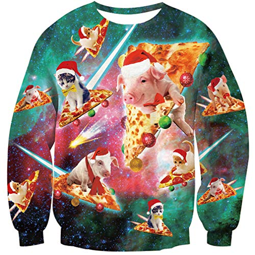 Goodstoworld Jerseys Navideños 3D Ugly Christmas Sweater Hombre Mujer Ropa Divertida Elfo Cerdo Traje de Navideño XXL