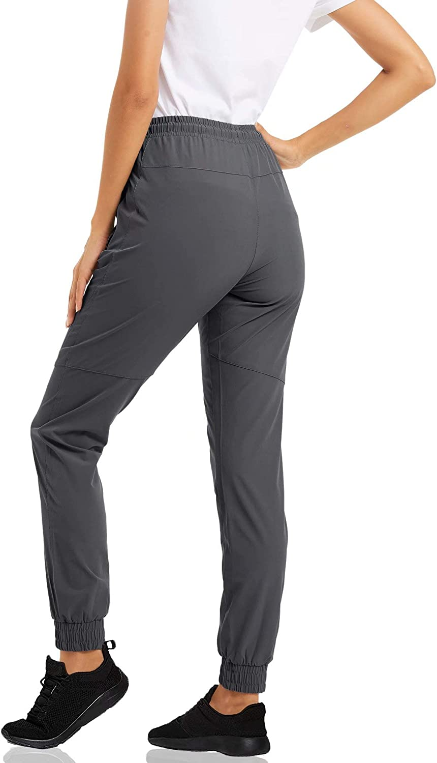 Running MAGCOMSEN Womens Quick Dry Jogger Hiking Pants with Zipper Pockets Closed Bottom Sweatpants for Workout Gym