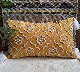 Trending Home Collection Cotton Fabric with Geometrical Chenille Manual Embroidery Stitched Zippered Lumbar Tassel Cushion Cover in Adorable Gifting Tote Bag(Yellow ) | 12 X 20 Inches | Set of 2|