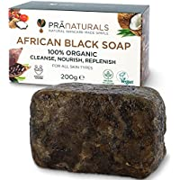 PraNaturals Jabón Negro Africano 200g, Orgánico y Vegano para Todo Tipo de Pieles, de Origen y Artesanal en Ghana Tropical, Tratamiento Natural Desintoxicante y Antienvejecimiento para Cuerpo y Cara
