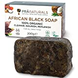 PraNaturals 100% Organic Raw African Black Soap 200g, Ethically Sourced and Handcrafted in