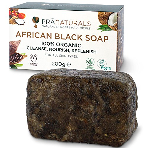 Savon Noir Africain Organique Pranaturals 200g, Cosmétique Végétalien. Pour Tous Les Types de Peau, Fabriqué À La Main Au Ghana, Détoxifiant Pour la Peau et le Visage