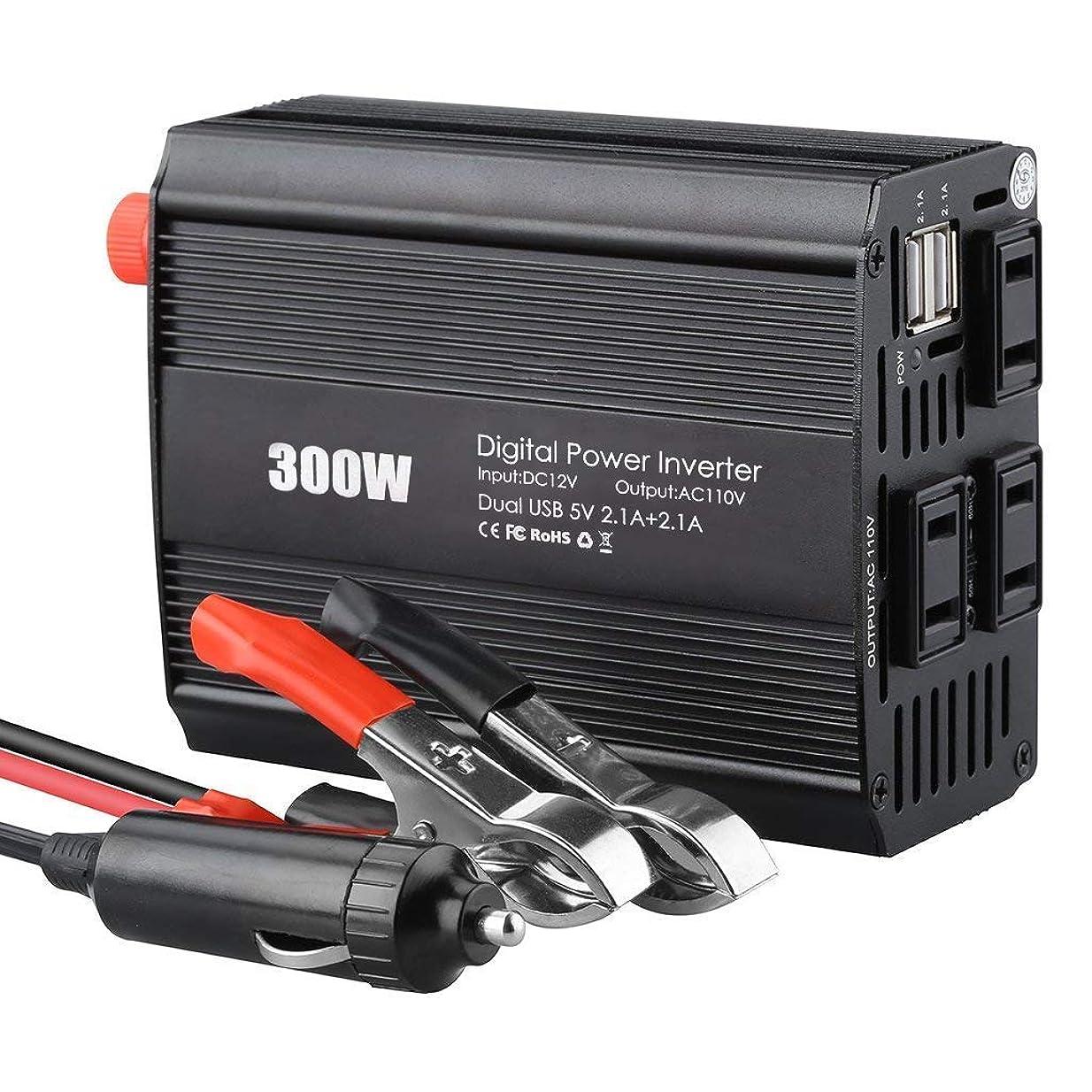 靴結晶評議会SUNOKY カーインバーター 300W 車載充電器 保護機能搭載 DC12VをAC110Vに変換 50Hz/60Hz切替可 ACコンセント3口 USB2ポート パソコン スマホ 防災用品などに (ブラック)