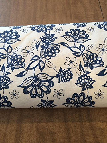 Door Draft Stopper, Draft Stopper, Door Draft Blocker, Door Snake, Draft Blocker, UNFILLED DRAFT STOPPER, Cream with Pretty Blue Flowers and Swirls,Large Flowers