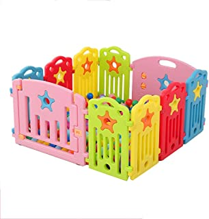 Baby Playpen Safety Fence Hearth Gate - Children's Activity Center Secure Game Bed, Indoor and Outdoor (10 Panel)(No balls)