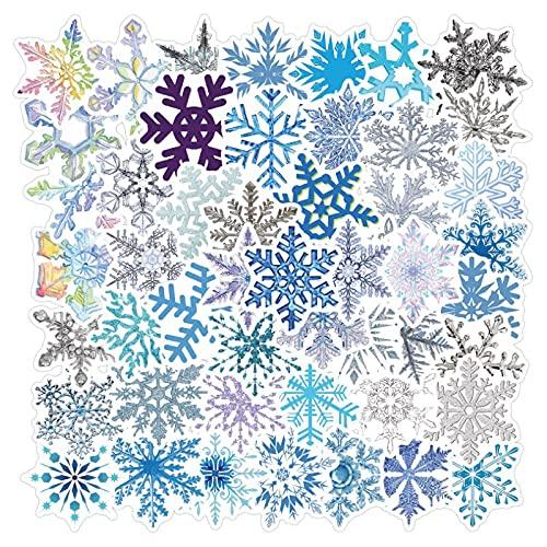 SHUYI Decoración navideña de Vidrio con patrón de Copo de Nieve Pegatinas Termo Taza portátil Maleta Pegatinas 50 Hojas