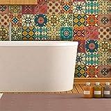 Stickers adhésifs carrelages muraux azulejos - 15 x 15 cm - 16 pièces