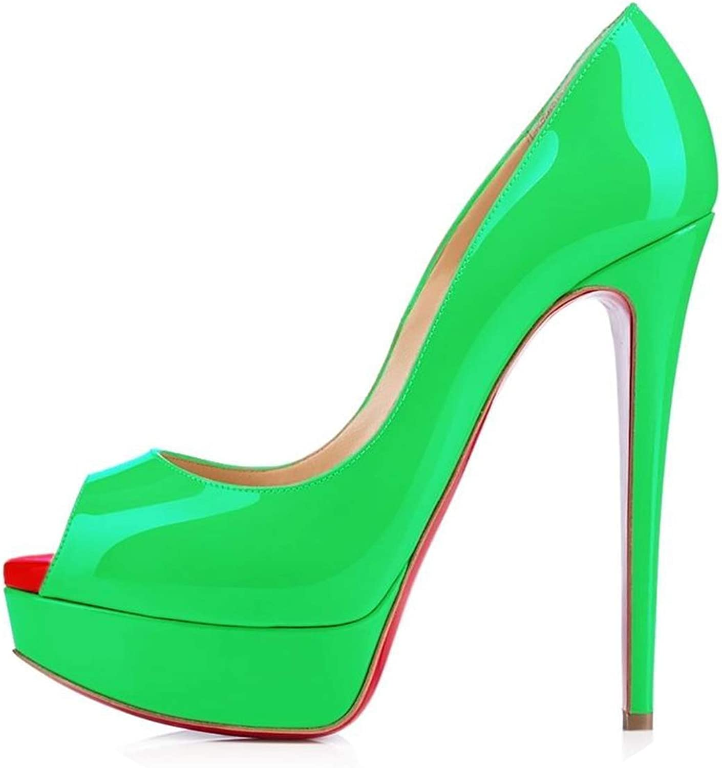 LAIGEDANZI Womens Pumps Leather Wedges Platform Stiletto High Heels Open Toe Sexy Party shoes,Green,6