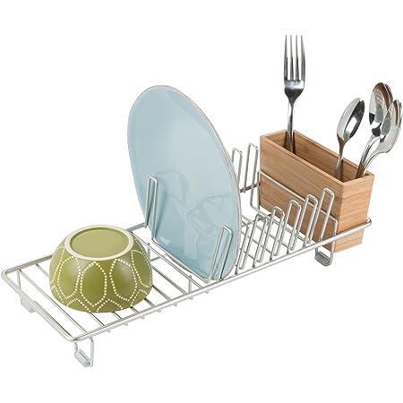 mDesign égouttoir à vaisselle – le panier à vaisselle pour évier de cuisine idéal – séchoir pour verres, couverts et plats – pour une meilleure organisation de l'évier – couleur: satiné