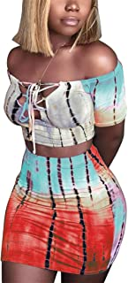 Women Sexy Off Shoulder Short Sleeve Crop Top Bodycon Mini Skirt Outfit Two Piece Dress Plus Size