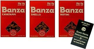 Banza Gluten-Free Non-GMO Chickpea Pasta 3 Shape Variety Plus Recipe Booklet Bundle, 1 each: Cavatappi, Shells, Rotini (8 Ounces)
