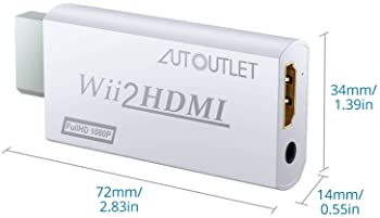 AUTOUTLET Wii to Hdmi Converter Output Video Audio Adapter, with 1M HDMI Cable Wii2HDMI 3.5mm Audio Video Output Supp...