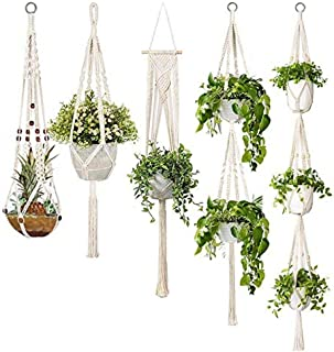 Macrame Plant Hangers, 5-Pack Handmade Cotton Rope Hanging Planters Set Flower Pots Holder Stand,Different Tiers, for Indo...