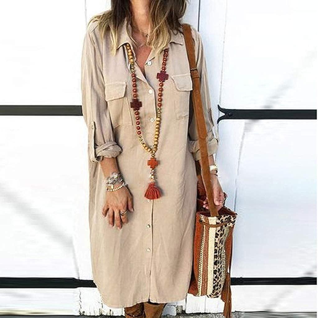 Gergeos Womens Boyfriend Pocket Button Shirt Dress Solid Color Long Sleeve Autumn Casual Dresses Tunic Tops