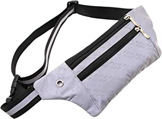Jacone Reflective Fanny Pack Running Gear for Men Women- Reflective Lightweight Waist Bag Pack Belt Bag with Reflective Adjustable and Elastic Straps for Night Running, Biking, Walking