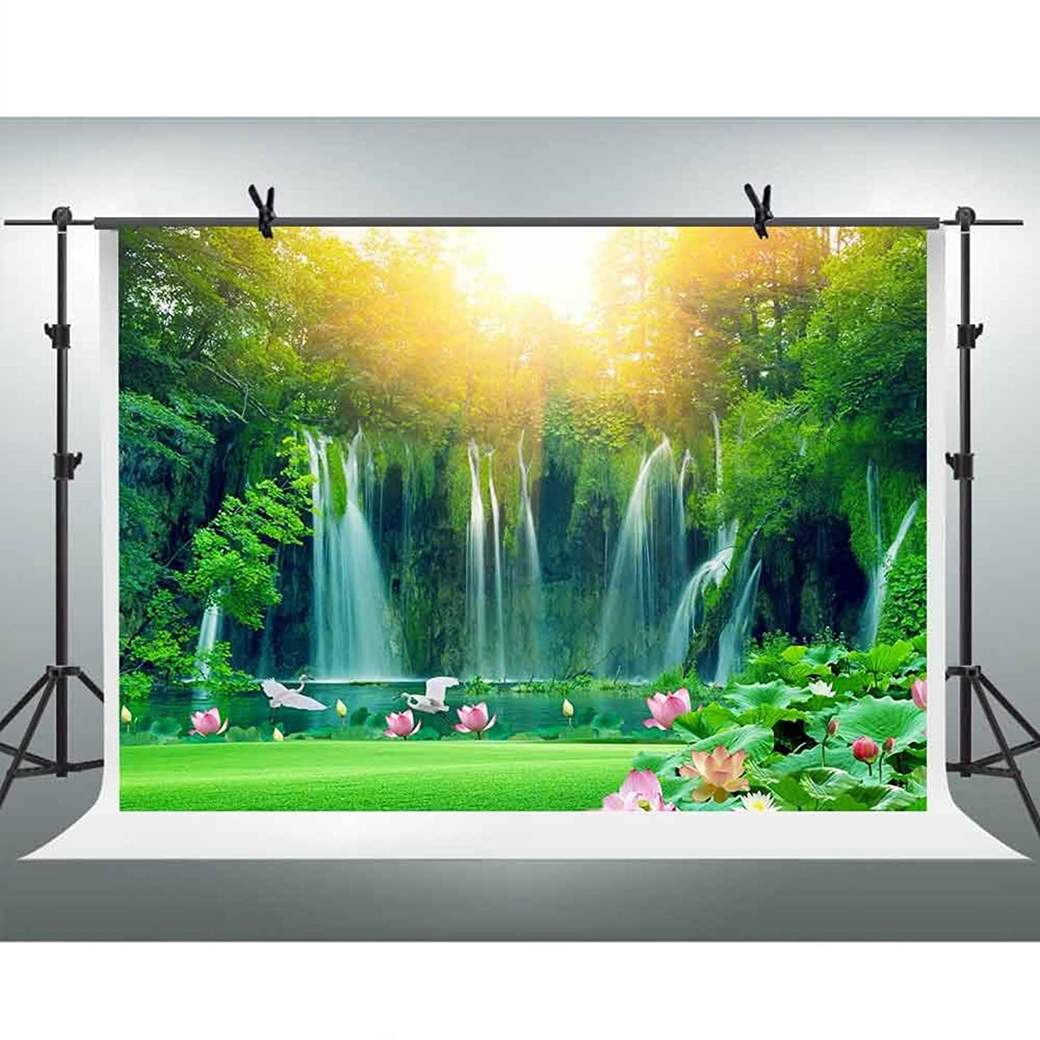 FHZON 10x7ft Waterfall Backgrounds for Photography Green Trees Forest Lotus Lake Sunshine Backdrop Travel Picture Wallpaper Decoration Photo Booth Video Prop TMFH021