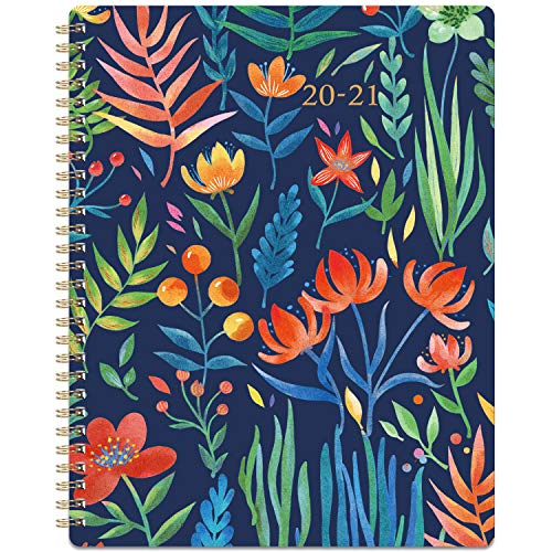"2020-2021 Planner - Academic Weekly & Monthly Planner with Marked Tabs, 8"" x 10"", July 2020 - June 2021, Contacts + Calendar + Holidays, Twin-Wire Binding with Thick Paper - Navy Floral"