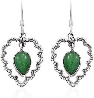 Pendientes de plata de ley 925 para mujer, pendientes colgantes, pendiente de turquesa verde pera, pendientes colgantes Plata Aretes, Sterling Silver Earrings for Women