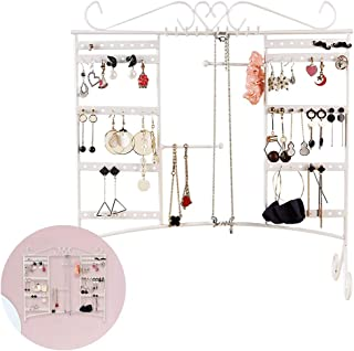 ComCreate Jewelry Organizer Earring Holder Necklace Display Large Capacity with Removable Foot Bracelets Hanger Wall Stand Rack(White)