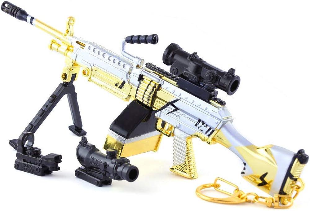 DJIEYU 1/4 Escala Militar Militar Miniatura M249 Escuadrón Automático Armas de Armas de Metal Modelo de Pistola Accesorios de Juguete Llavero Die Cast Decoración Juguetes
