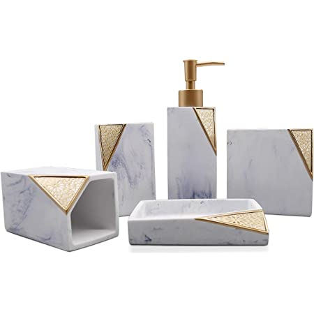 Amazon Com Cozy Villa 5 Piece Bathroom Accessories Lotion Dispenser Soap Dish Toothbrush Holder Tumblers White Marble With Gold Design Home Kitchen