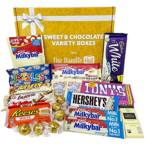 White Chocolate Hamper Gift Selection Box from The Bundle Hut: Includes White Oreo, Milkybar, Bueno, Hershey's, Tony's Chocolonely & Lindt, Gift for Christmas, 1000g