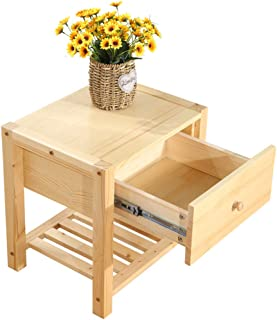 Bedside table Dressing Table Pine Solid Wood Bedside Cabinet Storage Cabinet Storage (Color : Solid Wood Color, Size : 463646cm)