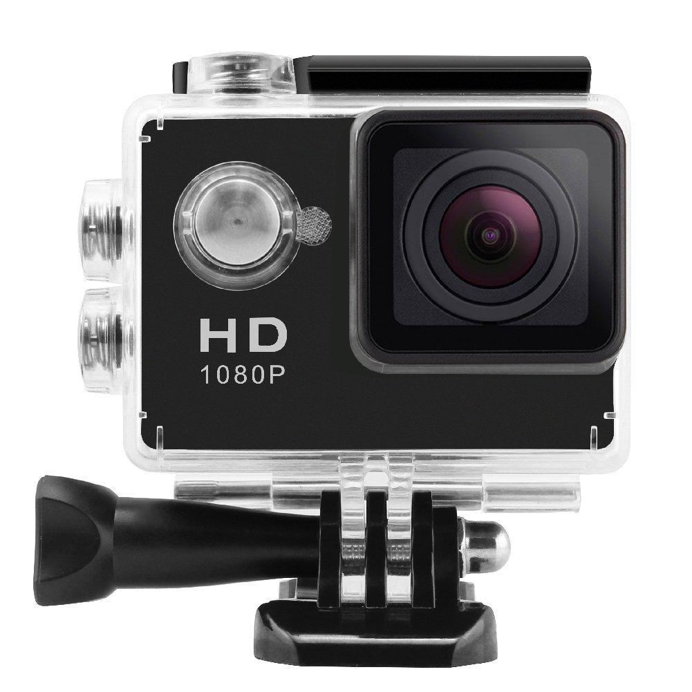 W8スポーツカメラライディングレコーダー1200万ピクセル1080 p 140度広角30メートル防水スポーツDVミニチュアカメラ防水シェル(エントリーレベルブラック16GBメモリ)