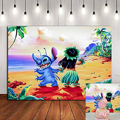 Tropical Summer Sea Beach Photography Backdrop 7x5ft Vinyl Lilo Stitch Luau Hawaii Photo Background Kids Birthday Party Decorations Party Banner Baby Shower Photo Booths Classroom Decorations