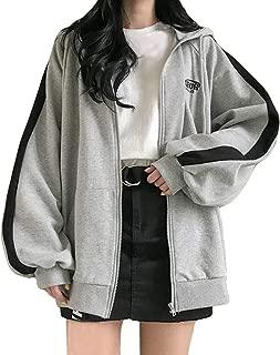 SEXYTOP Women Winter Oversized Hooded Outwears Thicken Warm Zipper Jacket Casual Work Office Sport Sweatshirts Pullover