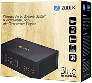 ZB TIMEBLUE WIRELESS STEREO SPEAKER SYSTEM & WOOD ALARM CLOCK WITH TEMPERATURE DISPLAY COFEE BROWN COLOR