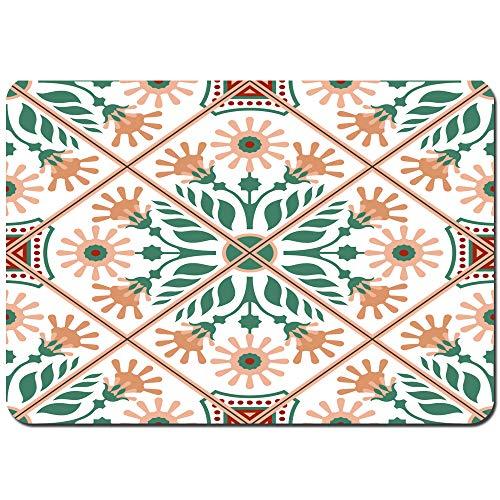 Antideslizante Alfombra De Baño,Patrón de Azulejos históricos Tradicionales Antiguos Portugal,Alfombra de Cocina Alfombra Mascota,Alfombras de Ducha 75x45cm