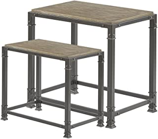 Madison Park FPF17-0057 Cirque Accent Tables - Wood, Iron Side Table - Reclaimed Grey, Mid-Century Modern Style End Tables - 2 Piece Set Nesting Table Small Tables For Living Room