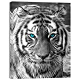 Welmeco Wildlife Animals Canvas Wall Decor Art Abstract Black and White Tiger with Blue Eyes Picture Prints Poster for Modern Home Living Room Bedroom Office Decoration (01 Tiger, 24'x32')