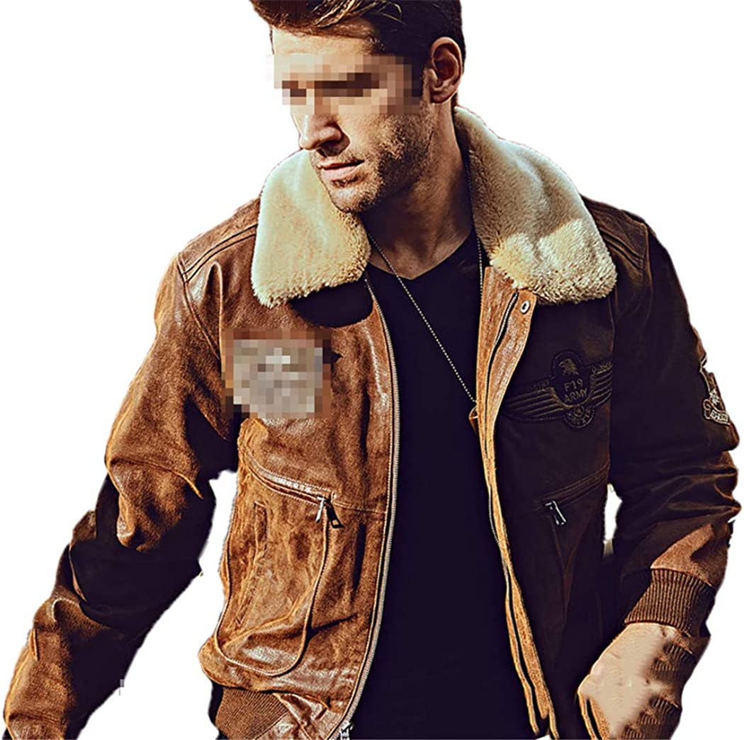 Easy-to-use DGFWERHY Max 88% OFF Men's Real Leather Bomber Fur Jacket Removable with Col