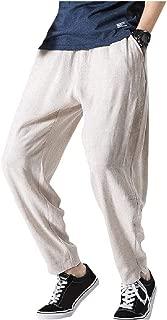 Energy Mens Harem Pants Elastic Waist Fit Cotton Linen Cozy Casual Trousers