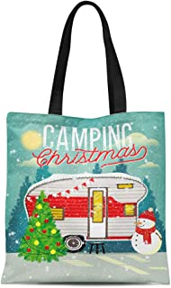 Semtomn Cotton Canvas Tote Bag Camper Christmas Vintage Travel Trailer in Winter Forest Camp Reusable Shoulder Grocery Shopping Bags Handbag Printed