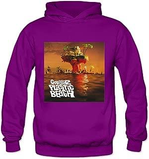 Soulya Women's Gorillaz Plastic Beach Fashion Hoodies Sweatshirt Size US Ash