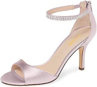 Women Open Toe Rhinestones Ankle Strap Thin High Heel Satin Evening Dress Sandals